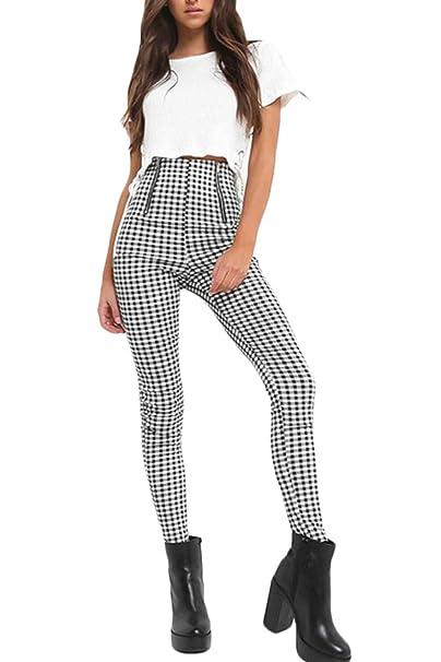 0f06c312934 Nimpansa Mujer Pantalones Pitillo De Cintura Alta Pantalones De Cuadros del  Casual Tobillo Cremallera  Amazon.es  Ropa y accesorios