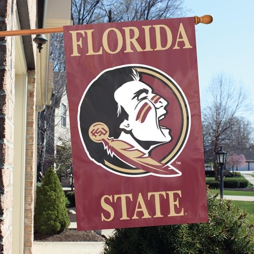 [Florida State Seminoles FSU NEW LOGO 2-sided 28x44 Premium Embroidered Applique Banner Flag University of] (Premium 2 Sided Banner Flag)