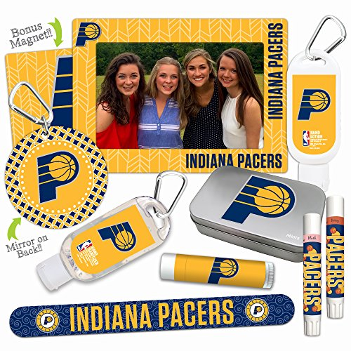 NBA Indiana Pacers Platinum Variety Set- with 2 Lip Shimmers, Lip Balm, Nail File, Mirror, Sanitizer, Lotion, Mint Tin, Magnetic Picture Frame. NBA Basketball Gifts for Women, Mother