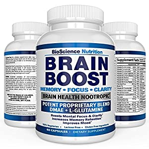 Brain Boost Nootropics for Memory, Focus, Clarity, Concentration, Mood, Alertness, Sharp Mind, Cognitive Function Enhancement - 41 Vitamins DMAE Herbal Nootropic Supplement - BioScience Nutrition USA from BioScience Nutrition