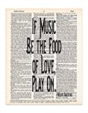If Music Be the Food of Love, Shakespeare Quote, Twelfth Night, Dictionary Page Art Print, 8x11 UNFRAMED