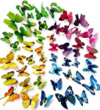 O4U 48pcs 4 Colours 3d Butterfly Wall Stickers Murals Removable DIY ...