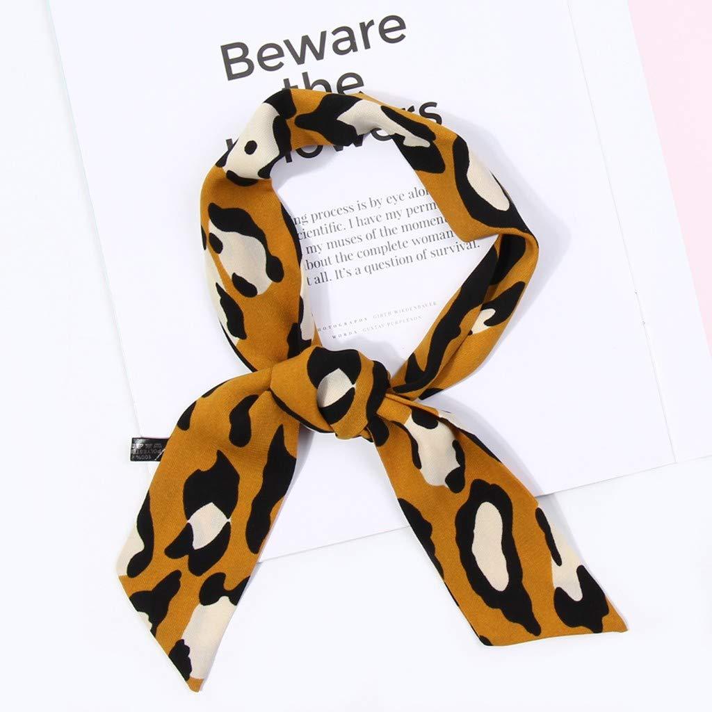 Yellow Women Ribbon,LuluZanm Women Ladies Leopard Print Scarf Wrap Shawls Soft Silk Scarf Ribbon