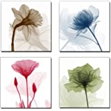 Wieco Art P4R1x1-07 4-Panel Canvas Print Flickering Flowers Modern Canvas Wall Art, 12 by 12-Inch