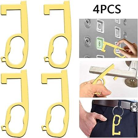 2, Style 2 1//2//5 PCS Hand Non-Contact EDC Door Opener Brass Alloy Portable Hygiene Elevator Handle Key