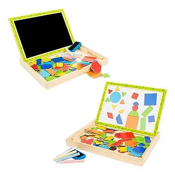 ColorBaby Play&Learn Pizarra magnética de madera natural, formas geométricas Multicolor (43898)