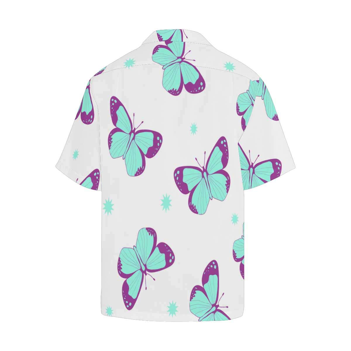 InterestPrint Mens Loose Summer Butterflies Pattern Short Sleeve Button Front Summer Printed Shirt for Men