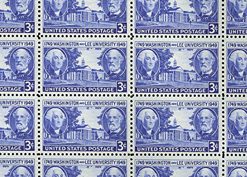 Washington and Lee University Complete Sheet of 50 3 Cent Stamps Scott 982 ()