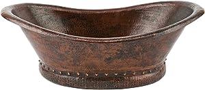 Premier Copper Products VBT20DB Bath Tub Vessel Hammered Copper Sink, Oil Rubbed Bronze