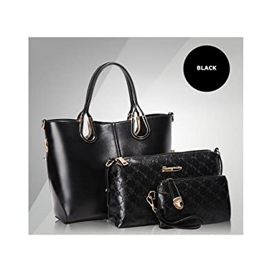 7f2b21c029 Women Medium New Designer Bag Set 3 Pieces PU Leather Handbag Tote Bag  (Black)