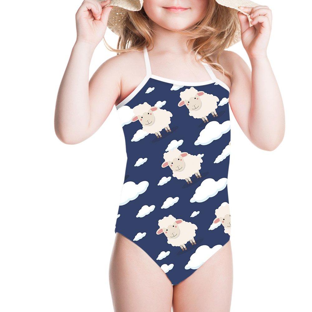 Ertyz Little Girl Cloud Sheep Print Jumpsuit Summer Beach One-Piece Outfit