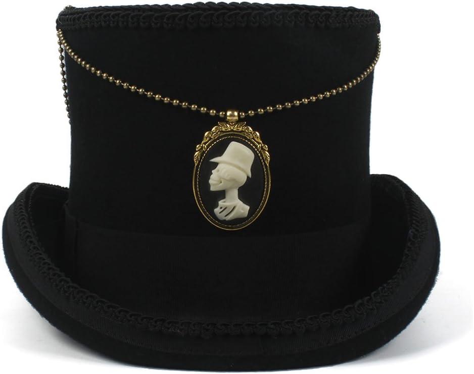 Xinanlongjb con la Parte Superior de la Cadena 15CM Sombrero Negro Fedora Mujeres de Lana Hombres Steampunk Sombrero de Copa Sombrero Sombrerero Loco Sombrero de Jazz Hat