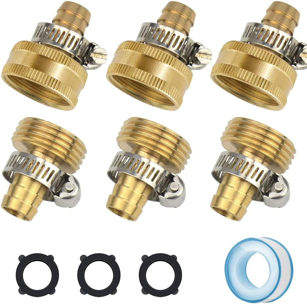 SUNPRO Brass Garden Hose Repair kit, 3 Set Male and Female Hose Connector with Clamps, Fits All 1/2 Inch Garden Hose (1/2