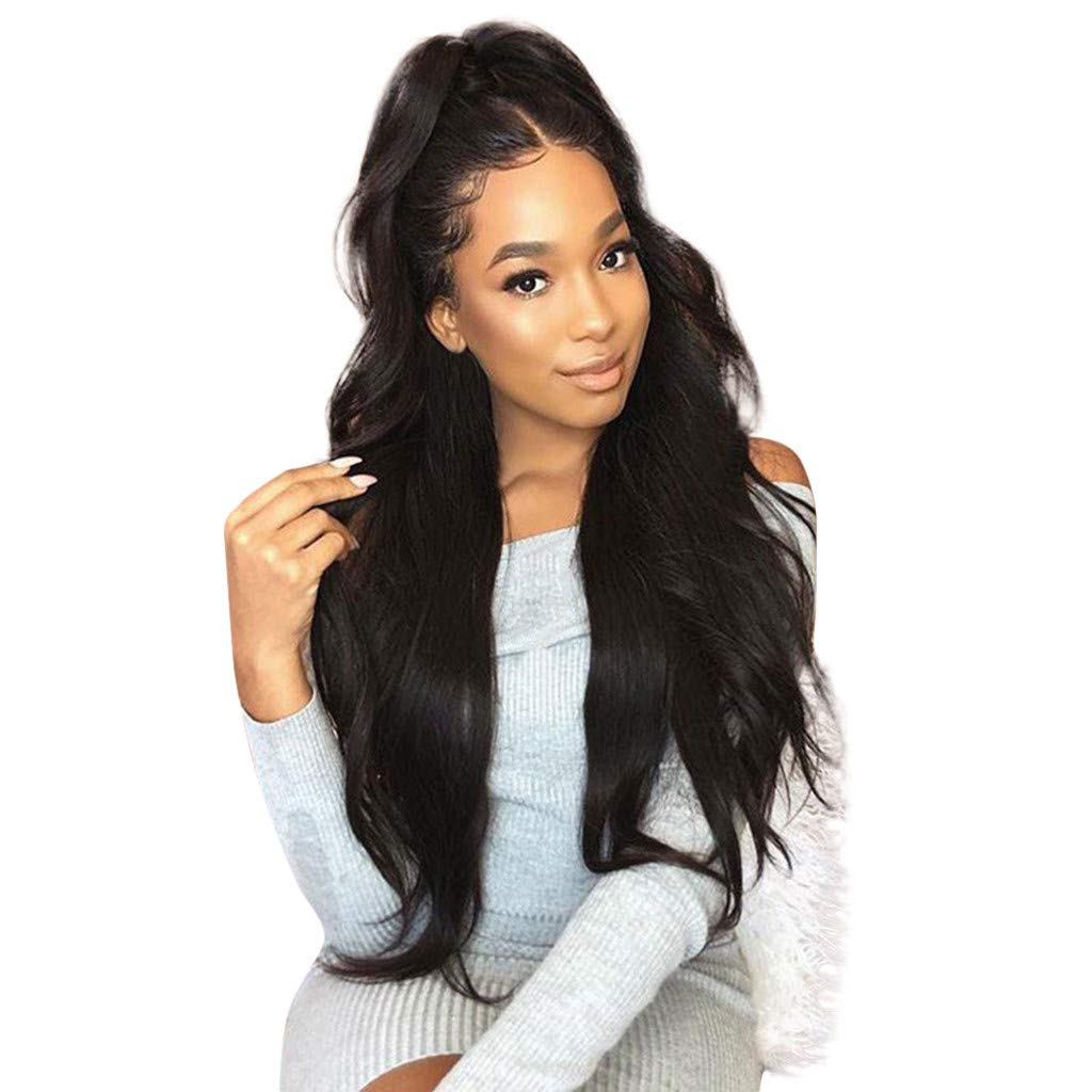 Clearance!!! Lace Front Wigs Women Long Curly Synthetic Brown Wigs Charming Full Wigs Long Black Waves Synthetic Wig Cosplay Hair for Ladies (Black, 75cm)