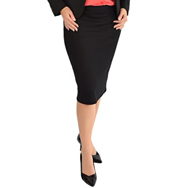 69722ee3ad Stretch is Comfort Women's Knee Length Pencil Skirt with Slit at Amazon  Women's Clothing store: