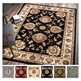 Cheap Sultan Sarouk Black Persian Floral Oriental Formal Traditional 9×13 (9'2″ X 12'6″) Oversized Area Rug Stain / Fade Resistant Modern Floral Thick Soft Plush Mansion Great Room Living Dining Room Rug
