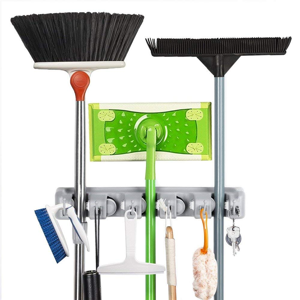 Broom Mop wall Holder,HanDingSM Multipurpose Wall Mounted Rack Garage Storage Garden Tool Organizer 5 Position with 6 Hooks,Strong Sturdy