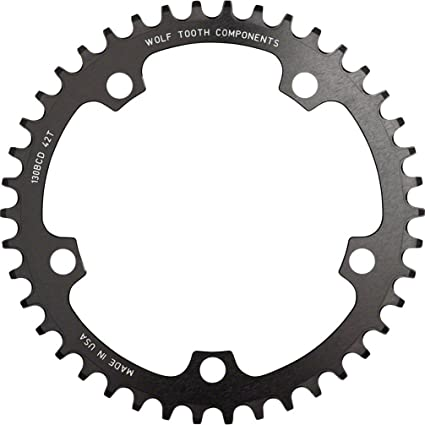 NEW Wolf Tooth Components 42t 130bcd Drop-Stop Chainring Black