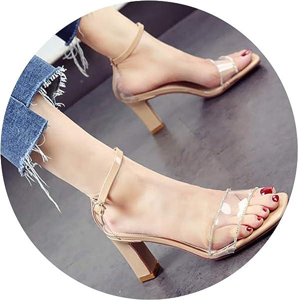 e855a4d7c2d6ce Open Toe Heels Square PVC Pumps Shoes Nude Diamond Ankle Strap Sandals  Transparent Chunky