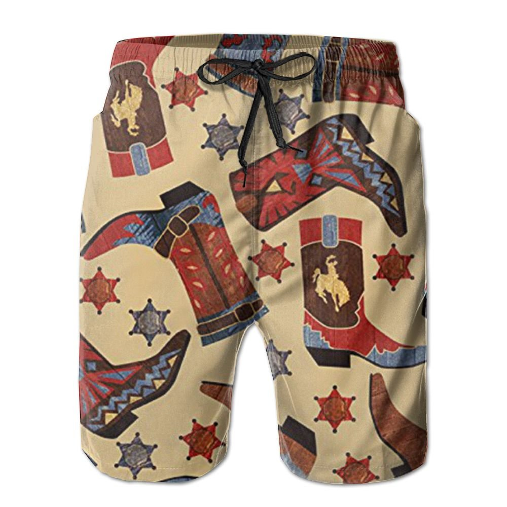 Vt9RE1k Men's Cowboy Boots Stars Swim Trunks Beach Elastic Shorts Cotton Pocket Loose Shorts