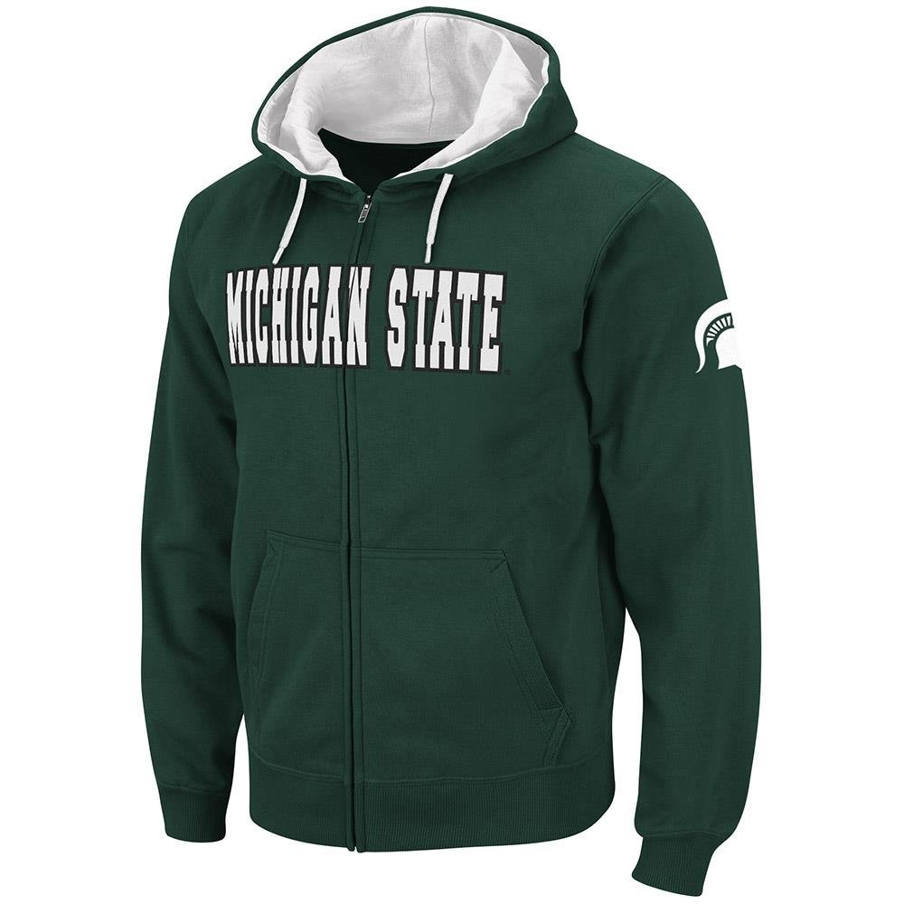 ColosseumメンズMichigan State SpartansフルZipパーカー B07GFR6N2F   Large with Name Embroidered