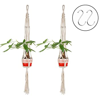 Jingxu Suspension Pot De Fleur Charge 5 Kg 2pieces Macrame Suspendu