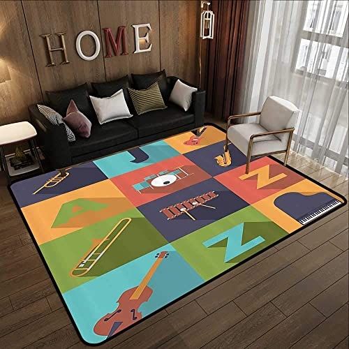 Floor mats Jazz Music Decor,Colorful All Jazz Equipment Set on Flat Design Funky Music Symbols Graphic Decoration,Multi 78.7 x 118 Anti-Skid Area Rug