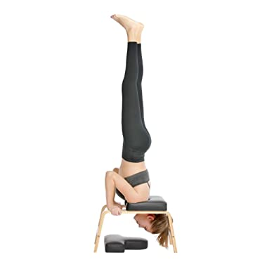 Restrial Life Yoga Headstand Bench- Stand Yoga Chair for Family, Gym - Wood and PU Pads - Relieve Fatigue and Build Up Body