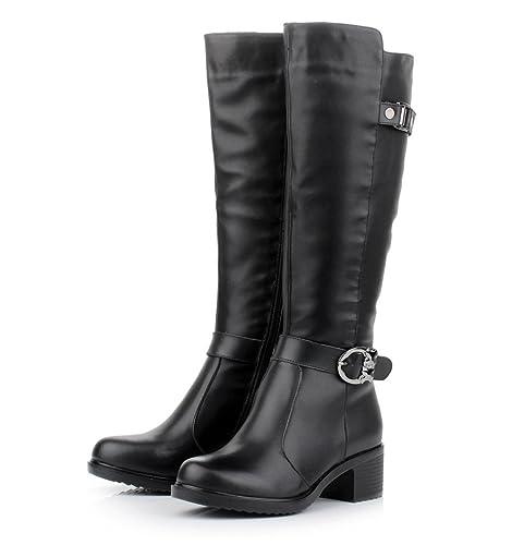 f7b5c38c1c HUSK SWARE Negro Botas de Cuero de Moda para Mujeres Botas de Invierno  Botas Altas