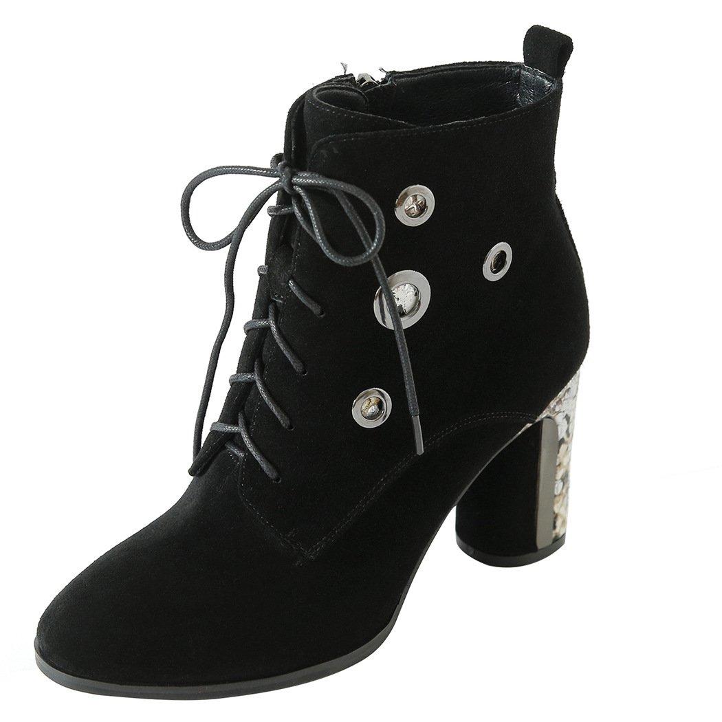QIN&X Puntera redonda mujer Tacones de bloque corto Botines zapatos con plataforma: Amazon.es: Zapatos y complementos