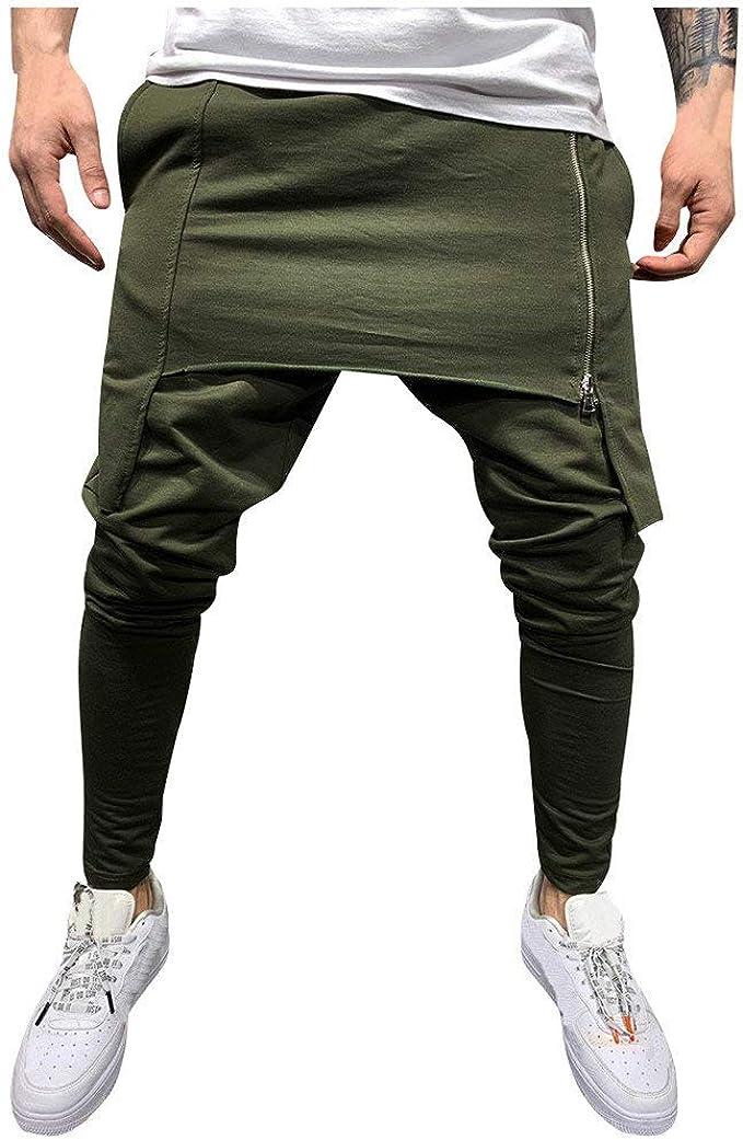 YYear Mens Linen Stylish Drawstring Sports Jogger Print Long Sweatpants