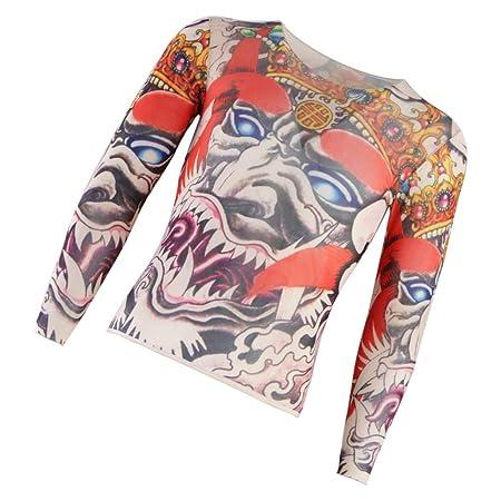 Elástico Camisa de Tatuaje Real Temporales para Deporte Camiseta ...