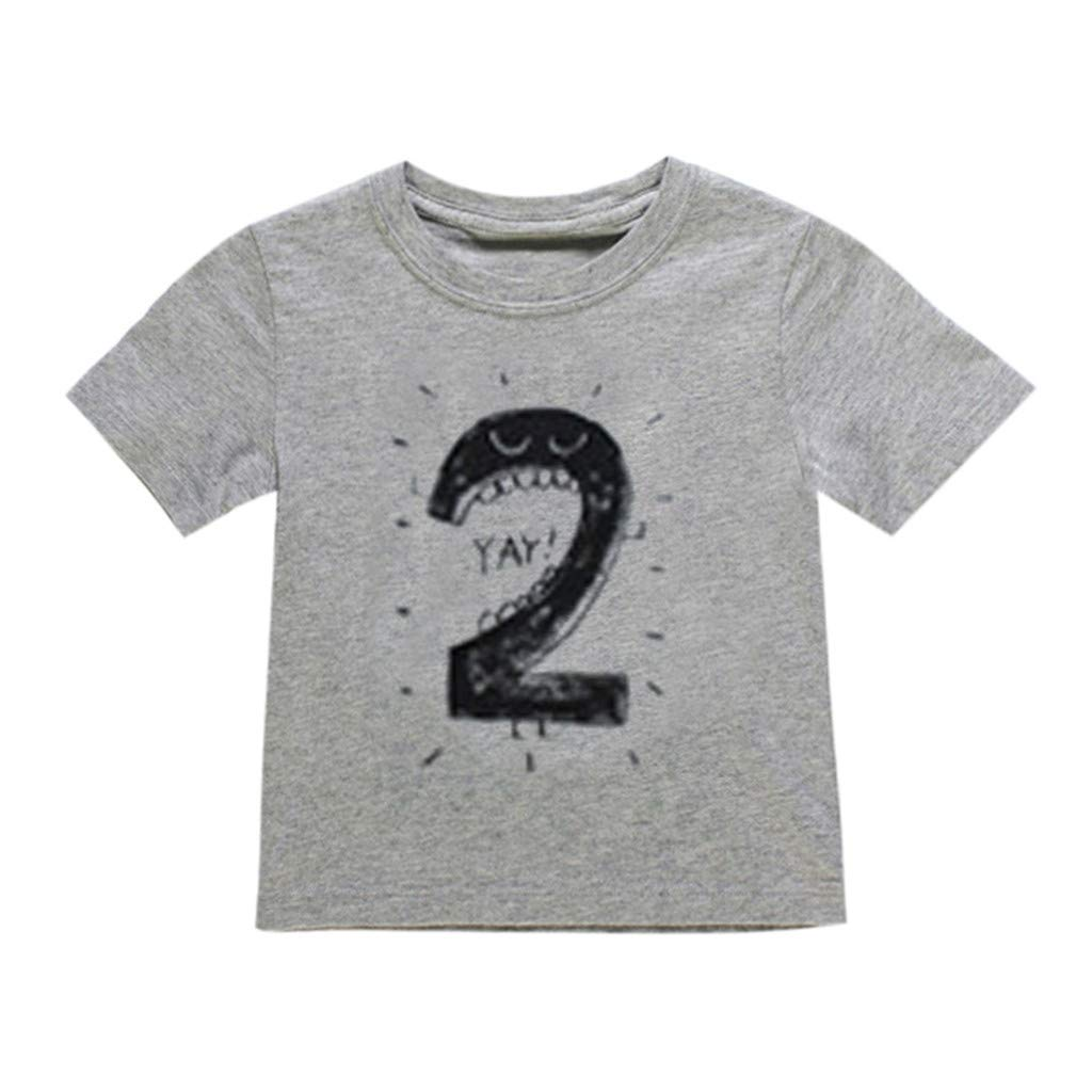 Newborn Baby Kids Boy Girl Number Cartoon Short Sleeve T-Shirt Tee Tops Clothes
