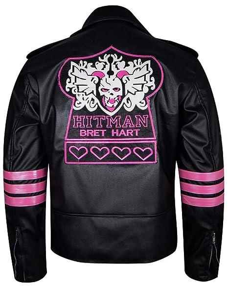 Amazon.com: Hitman Bret Hart WWE Wrestler Chaqueta de piel ...