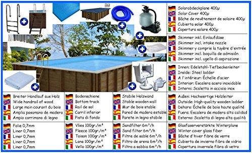 Holzbecken Giant Wood All-In Set rechteck 4,20m x 6,00m x 1,31m Folie 0,7mm Holzpool Pools Rechteckbecken Rechteckpool