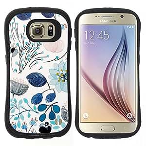 """Hypernova Slim Fit Dual Barniz Protector Caso Case Funda Para Samsung Galaxy S6 [Primavera azul del trullo florales Flores Patrón""""]"""