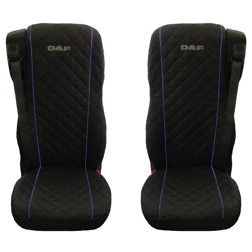 DAF 106XF Truck Seat Covers 2 pieces BLACK BLUE PIPING