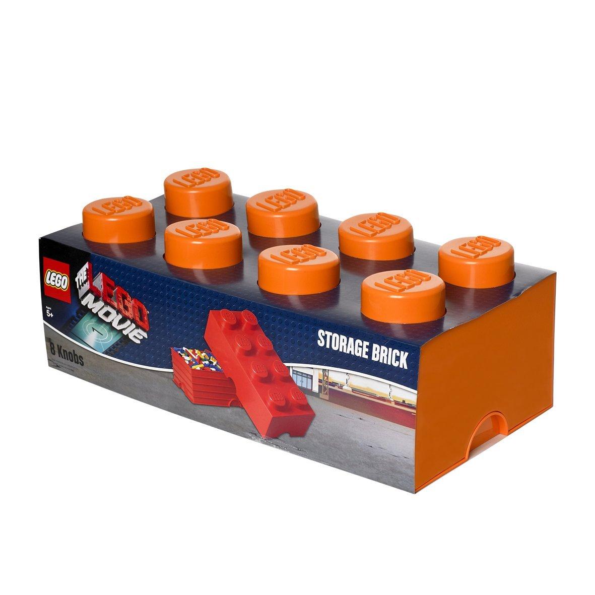 LEGO Lizenzkollektion 40041753 - The Movie stapelbare Aufbewahrungsbox, 8 Noppen, orange