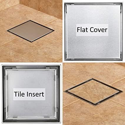 4 Inch Square Shower Drain With 2 In 1 Reversible Flat Tile Insert