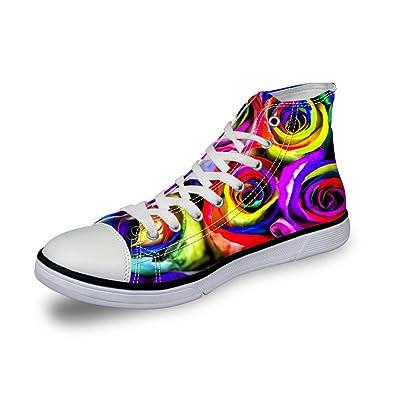 975081dc34 Amazon.com | FOR U DESIGNS Breathable Women Canvas Shoes 3D Floral ...