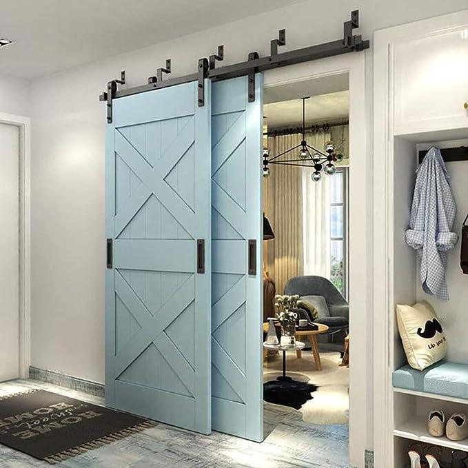 WINSOON - Armario de madera para puerta corrediza doble, estilo antiguo, color negro: Amazon.es: Bricolaje y herramientas