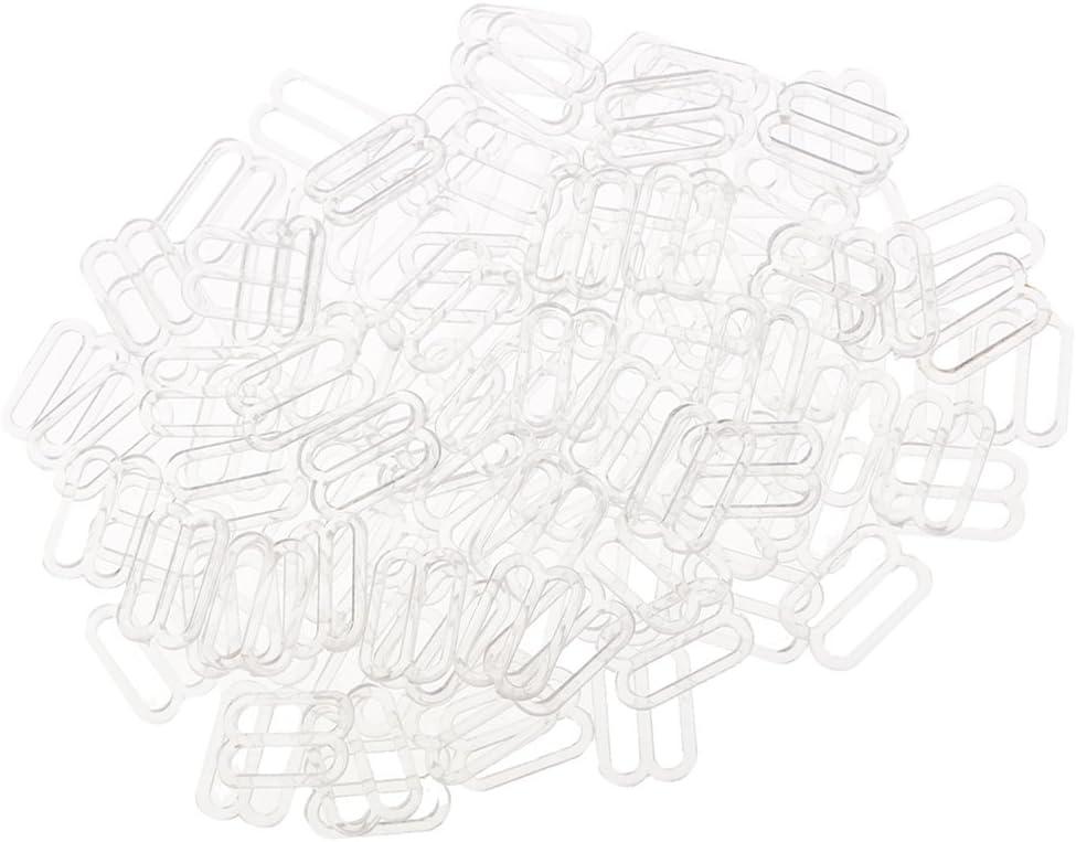 White Baoblaze 100 Pieces Nylon Bra Strap Adjustment Sliders Hooks Lingerie Buckles Sewing Fasteners 10mm