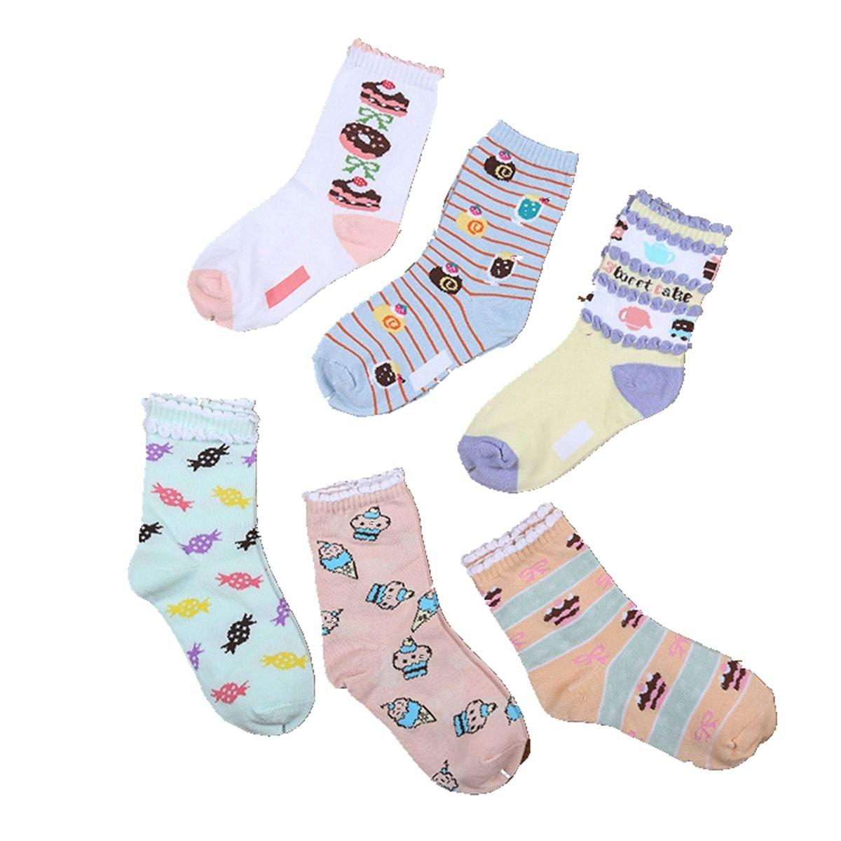 Girls Short Socks Fashion Ice Cream Cotton Basic Crew Kids Sock 10 Pair Pack