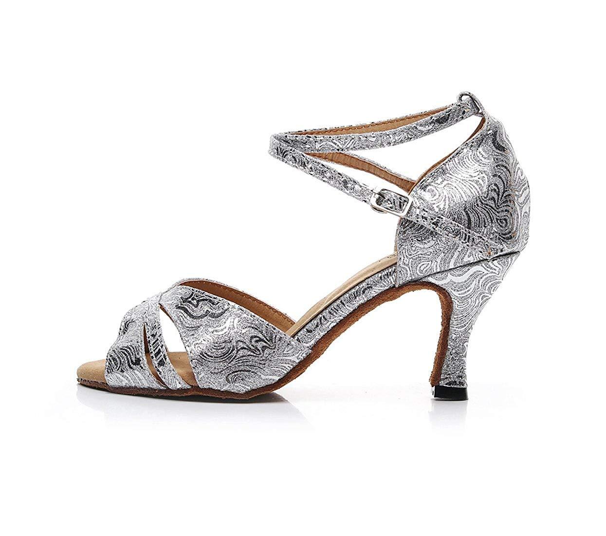 Qiusa Damen Knöchelriemen Silber Glitter Glitter Glitter Salsa Latin Ballroom Dance Sandalen Hochzeit Schuhe UK 2.5 (Farbe   rot-3.5  Heel, Größe   -)  c92b16