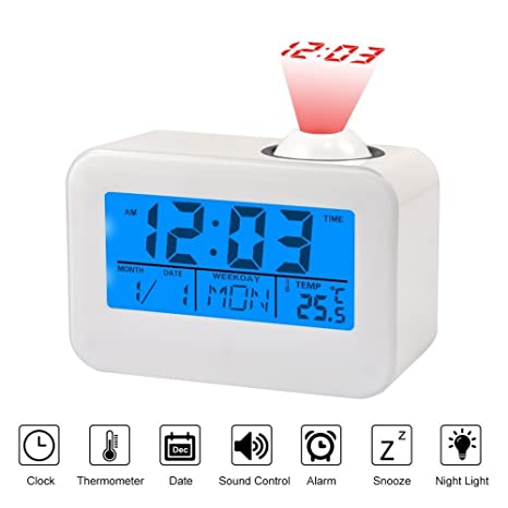 Radio-reloj digital despertador con proyección LED, función snooze, calendario, temperatura digital