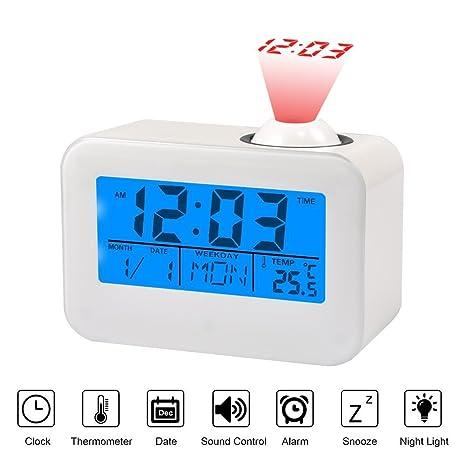 Radio-reloj digital despertador con proyección LED, función snooze, calendario, temperatura digital