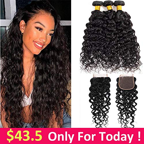 8A Brazilian Water Wave 3 Bundles With Closure Free Part (10 12 14+10)100% Unprocessed Wet And Wavy Virgin Human Hair Weave Bundles With Closure Natural Colour