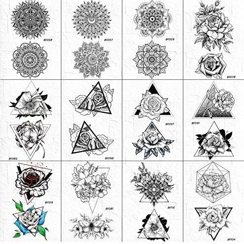yyyDL etiqueta engomada colorida del tatuaje Mandala flor tatuajes ...