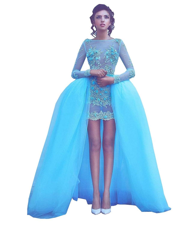 Banfvting Overskirt Prom Dress Detachable Train Evening Gown ...