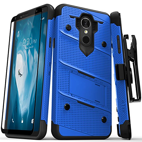 Zizo Bolt Series Compatible with LG Stylo 4 Case Military Grade Drop Tested with Tempered Glass Screen Protector, Holster, Kickstand Blue Black ()